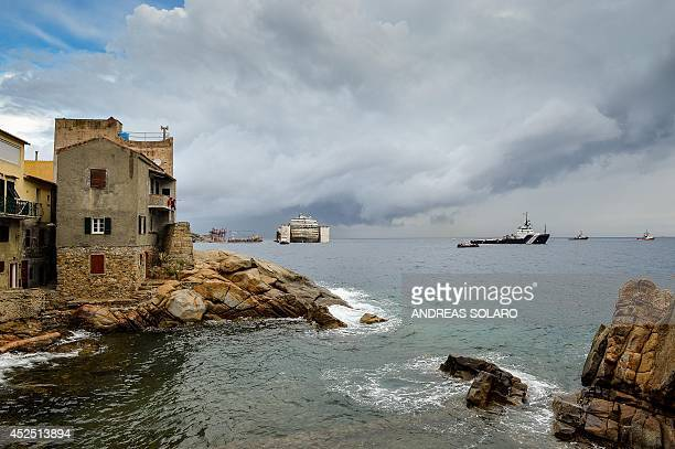 Photo shows the Costa Concordia cruise ship after being refloated using air tanks attached to its sides on July 22 2014 at Giglio Island The Costa...