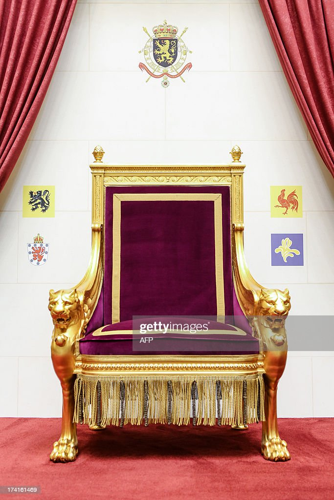 Photo shows the empty throne at the Parliament after the oath taking ceremony of the new king of Belgium on Belgian National Day in Brussels on July...