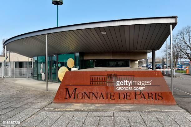A photo shows the entrance of the Monnaie de Paris in Pessac western France on March 21 2016 The Monnaie de Paris will create two series of twelve...