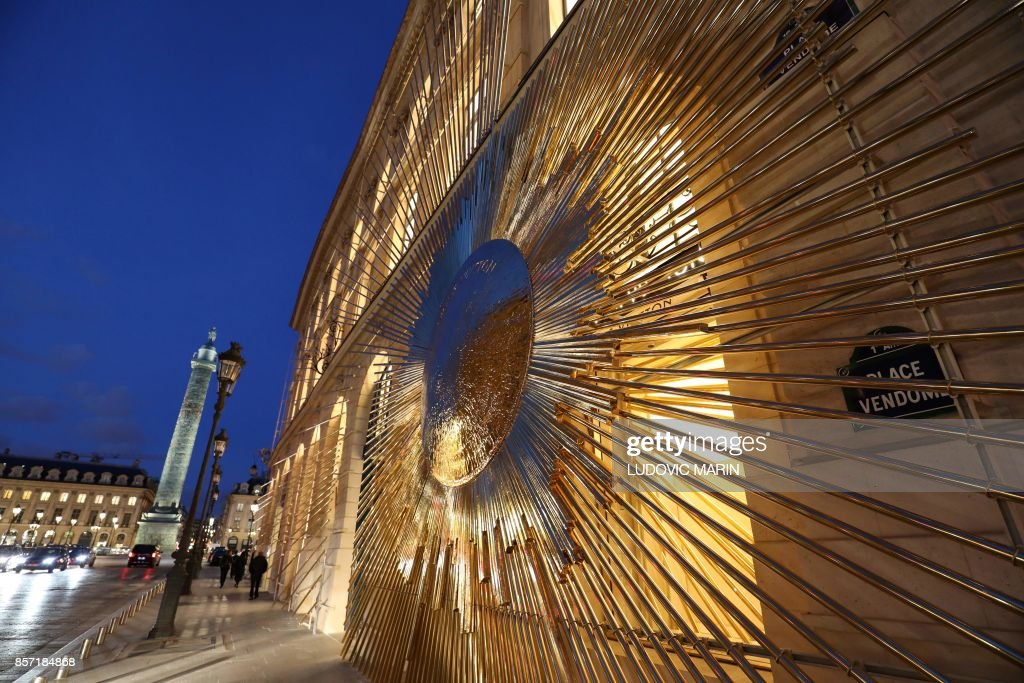 louis vuitton flagship store. topshot - a photo shows the facade of newly opened louis vuitton flagship store off