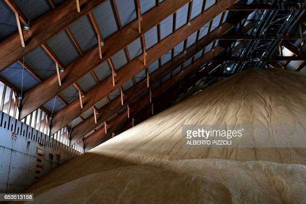 A photo shows the French sugar cooperative Cristal Union's storage area at the SFIR Raffineria di Brindisi sugar refinery in Brindisi on March 15...