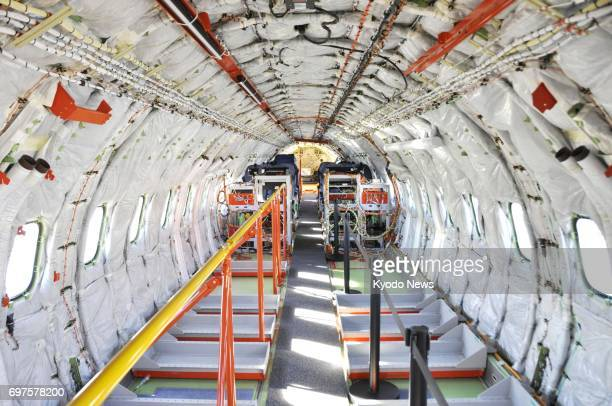 Photo shows the interior of the Mitsubishi Regional Jet which was shown to the media at the International Paris Air Show on June 19 2017 The MRJ is...