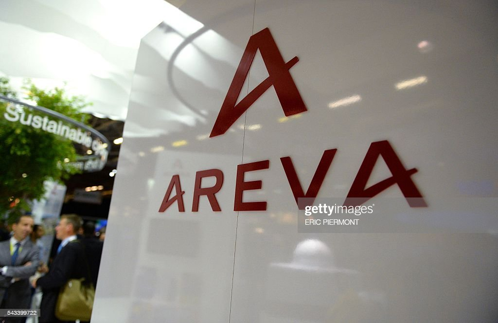 A photo shows the logo of the French nuclear giant Areva during the World Nuclear Exhibition in Le Bourget, near Paris, on June 28, 2016. / AFP / ERIC