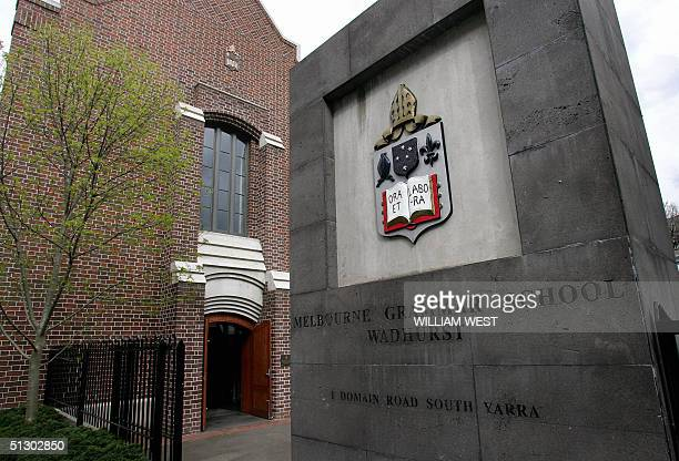 A photo shows the main entrance to the exclusive Melbourne Grammar school which will receive a funding cut under a proposal from Australia's...