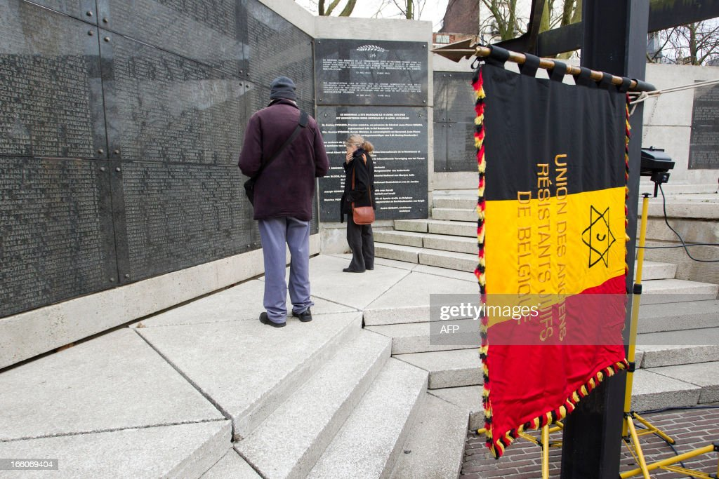 Photo shows the National Memorial for the Jewish Martyrs during a service on international 'Holocaust Remembrance Day', on April 8, 2013 at the National Memorial for the Jewish Martyrs in Brussels.