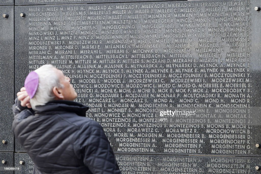 Photo shows the National Memorial for the Jewish Martyrs during a service on international 'Holocaust Remembrance Day', on April 8, 2013 at the National Memorial for the Jewish Martyrs in Brussels. AFP PHOTO /KRISTOF VAN ACCOM