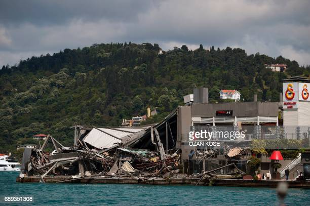 A photo shows the remaining debris of the Galatasaray Suada nightclub after its demolition was ordered by Istanbul authorities on May 28 2017 near...