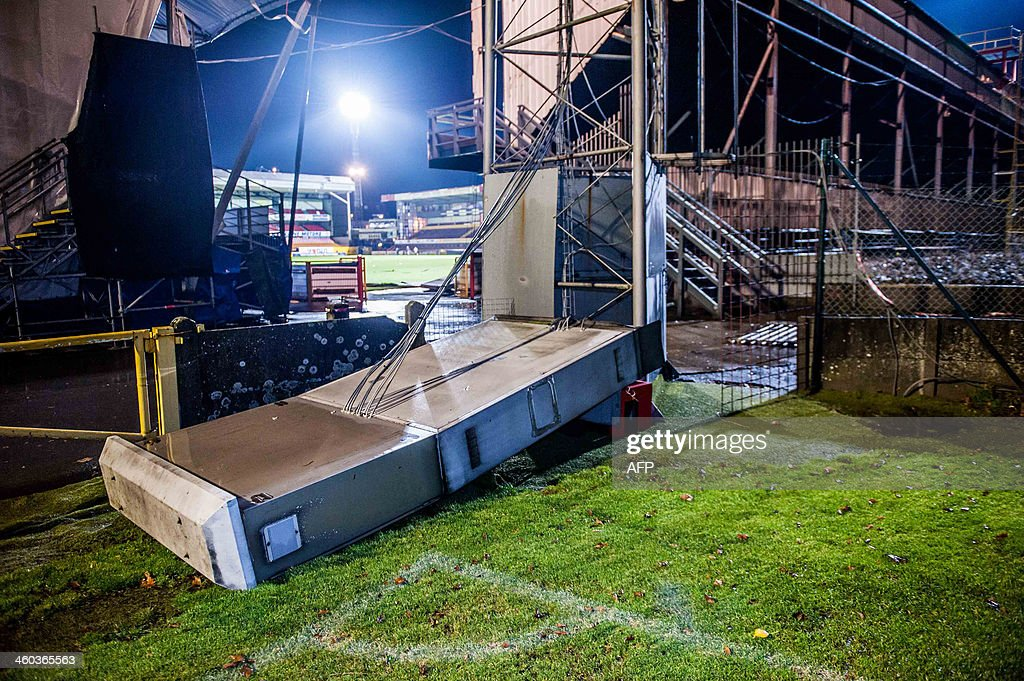 Photo shows the stadium of Belgian football team KV Mechelen in Mechelen after it was damaged by a storm on January 3 2014 High tides and strong...