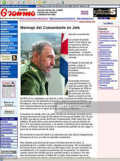 Photo shows the web page of the online version of Cuba's official daily Granma the 'Official Organ of the Central Committee of the Communist Party of...