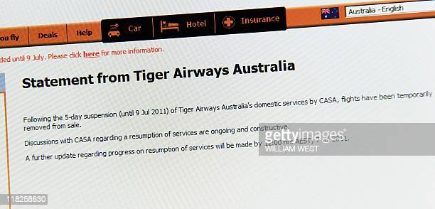 A photo shows the web page of Tiger Airways as the budget carrier stopped selling tickets after pressure from the consumer regulator who said it was...