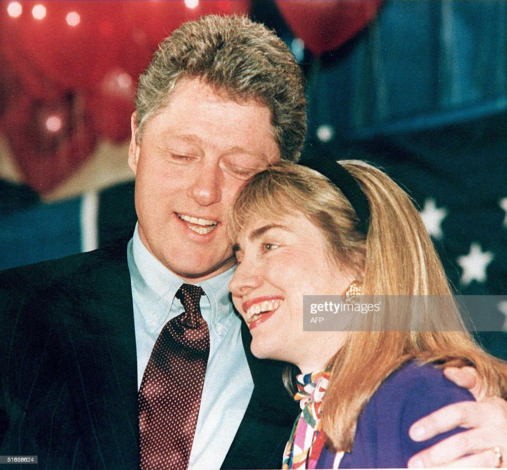 A 1992 photo shows then Governor of Arkansas <a gi-track='captionPersonalityLinkClicked' href=/galleries/search?phrase=Bill+Clinton&family=editorial&specificpeople=67203 ng-click='$event.stopPropagation()'>Bill Clinton</a> (L) and his wife Hillary (R) embracing. Clinton has been accused of having an affair with a former White House intern, Monica Lewinsky, and during a depostion 17 January in the Paula Jones sexual harrassment suit, he admitted to having a relationship with Gennifer Flowers when he was governor.