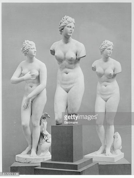 Photo shows three similar statues of Aphrodite in the collection of the Metropolitan Museum of New York City The ancient replica of a Greek work from...