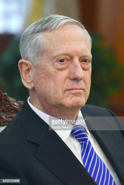 Photo shows US Defense Secretary James Mattis during a meeting with South Korea's acting President Hwang Kyo Ahn in Seoul on Feb 2 2017 The new US...