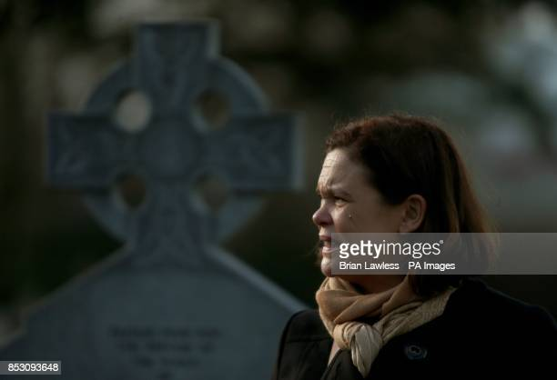 Photo Sinn Fein deputy leader Mary Lou McDonald TD at the third annual Flowers for Magdalenes remembrance event in Glasnevin cemetery Dublin to mark...