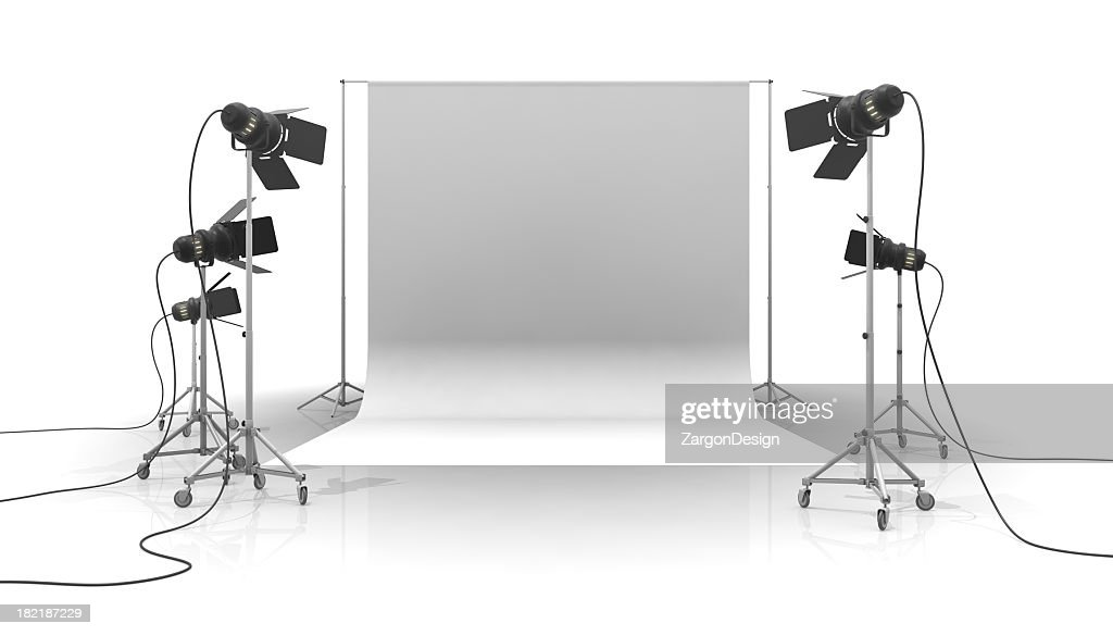 A photo studio with white background