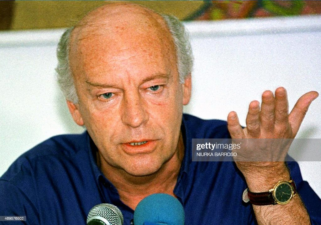 Photo taken 07 June 1999 of writer <a gi-track='captionPersonalityLinkClicked' href=/galleries/search?phrase=Eduardo+Galeano&family=editorial&specificpeople=2578757 ng-click='$event.stopPropagation()'>Eduardo Galeano</a> in La Havana, Cuba who is currently protesting the war on Iraq. Galeano died in Montevideo on April 13, 2015 at the age of 74. AFP PHOTO/NIURKA BARROSO