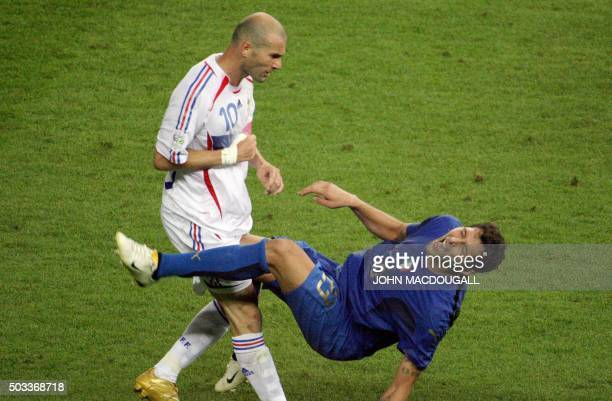 A photo taken 09 July 2006 shows French midfielder Zinedine Zidane gesturing after headbutting Italian defender Marco Materazzi during the World Cup...
