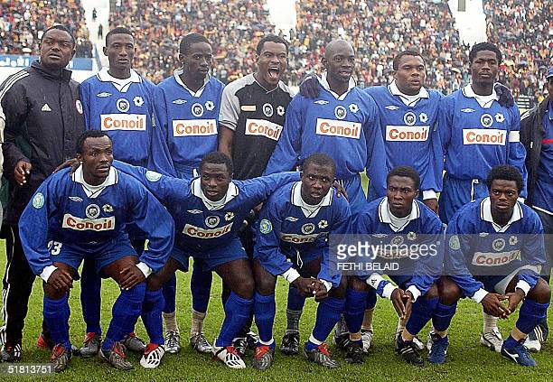 Photo taken 14 November 2004 at the ElManzeh stadium in Tunis of the Nigerian club team of Enyimba who will play the final of the African Champions...