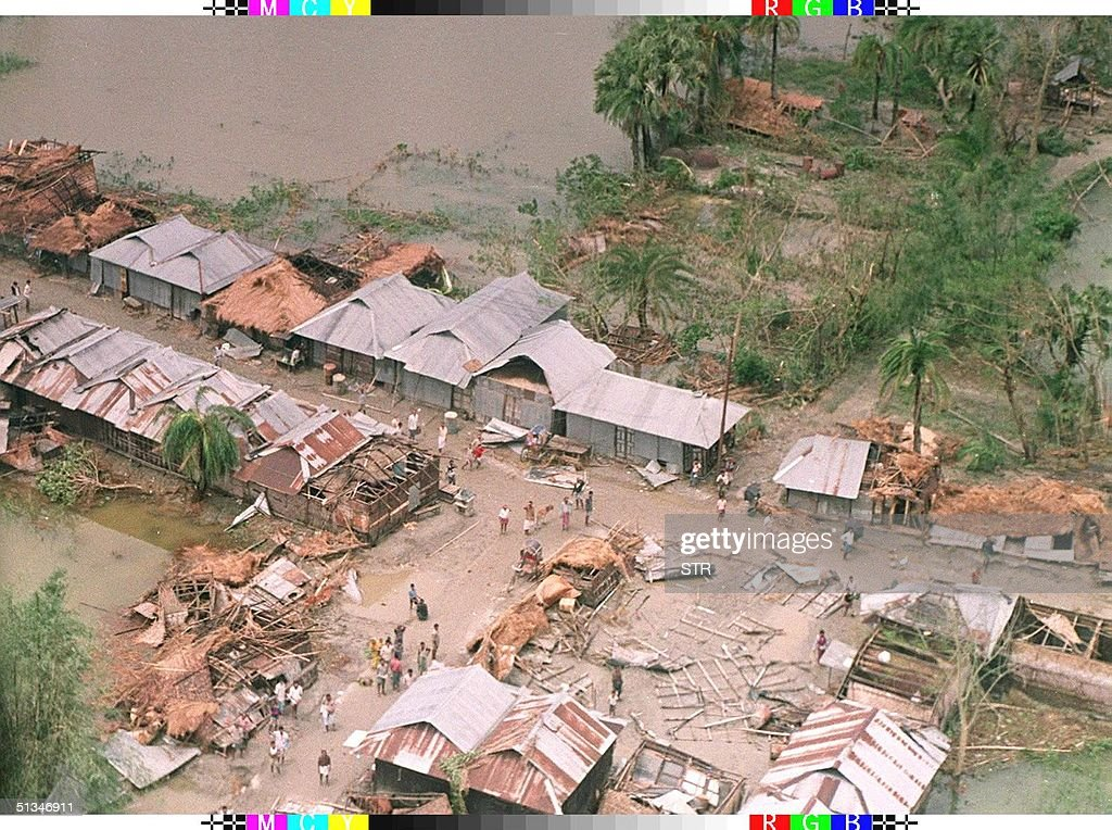 Photo taken 30 April 1991 shows part of the city of Chittagong after it was flooded following the worst cyclone to hit the nation in over 20 years A...