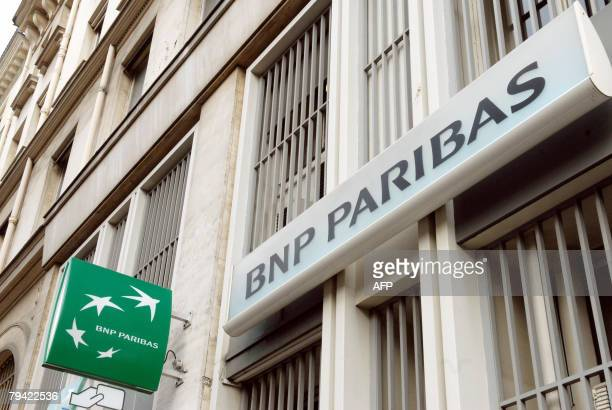 Photo taken 31 January 2008 in Paris of the French bank BNP Paribas' logo BNP Paribas tipped as a potential suitor for scandalhit Societe Generale...
