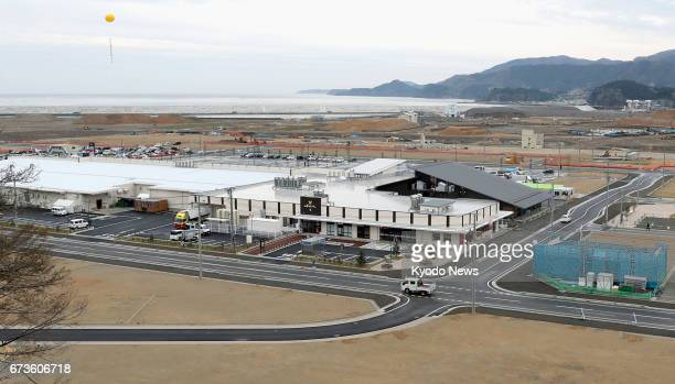 Photo taken April 27 shows the new commercial complex 'Abasse Takata' and its surrounding area in Rikuzentakata Iwate Prefecture a city hit by the...