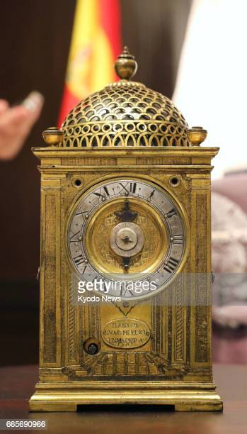 Photo taken April 7 in the central Japan city of Shizuoka shows a clock made in Madrid in 1581 and presented in the early 17th century by Spanish...