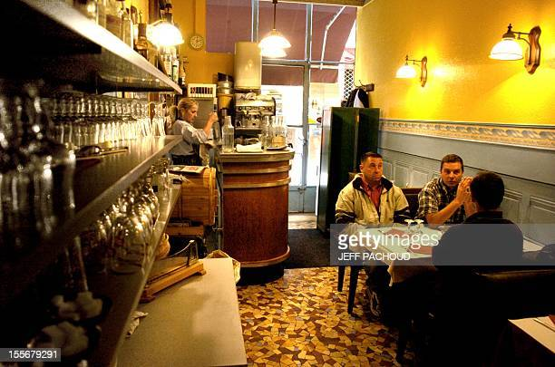 A photo taken at a 'bouchon' restaurant 07 November 2006 in Lyon southern France The name of the typical Lyonnais eating establishments called...
