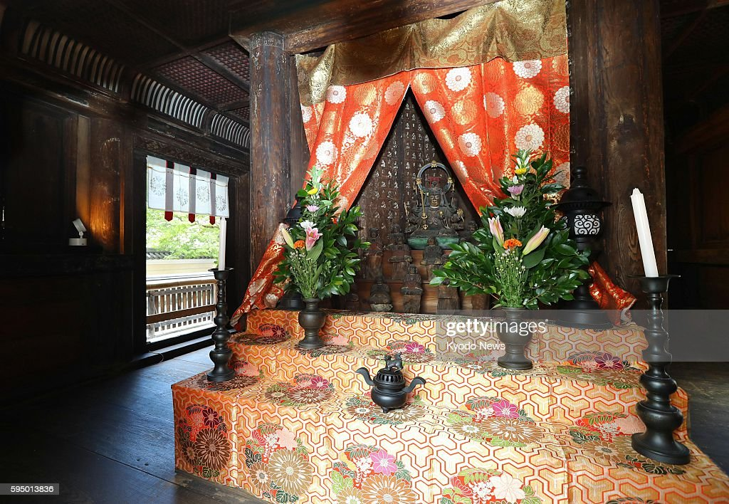 Photo taken Aug 25 shows the interior portion of the threestory pagoda of the World Heritagedesignated Kofukuji Temple in the western Japan city of...