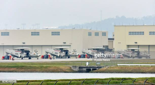 Photo taken Aug 9 shows four of five E2D early warning aircraft that arrived at Marine Corps Air Station Iwakuni in the western Japanese prefecture...