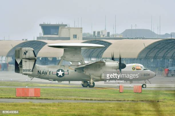 Photo taken Aug 9 shows one of five E2D early warning aircraft that arrived at Marine Corps Air Station Iwakuni in the western Japanese Prefecture of...