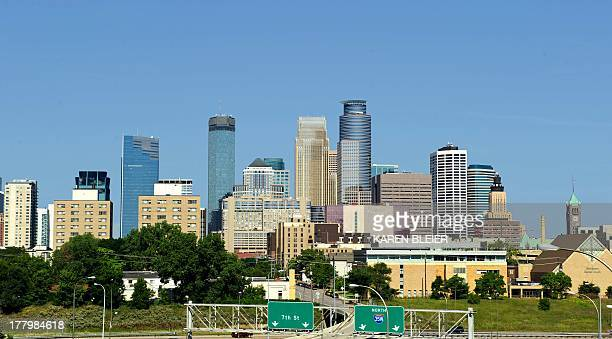 Photo taken August 17 2013 shows the skyline of Minneapolis Minnesota AFP PHOTO / Karen BLEIER