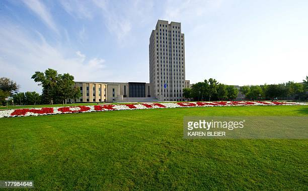 Photo taken August 18 2013 shows the state Capitol of North Dakota at Bismarck AFP PHOTO / Karen BLEIER