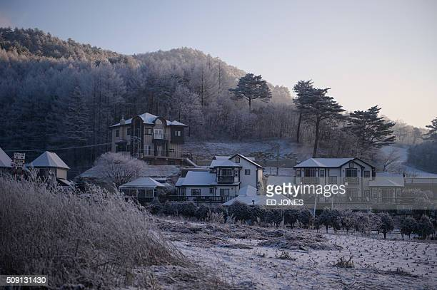A photo taken February 6 2016 shows a general view of houses in the popular South Korean skiing destination of Pyeongchang AFP PHOTO / Ed Jones / AFP...