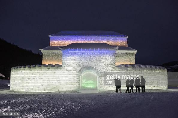 A photo taken February 6 2016 shows an ice sculpture at the Alpensia ski resort in Pyeongchang AFP PHOTO / Ed Jones / AFP / ED JONES