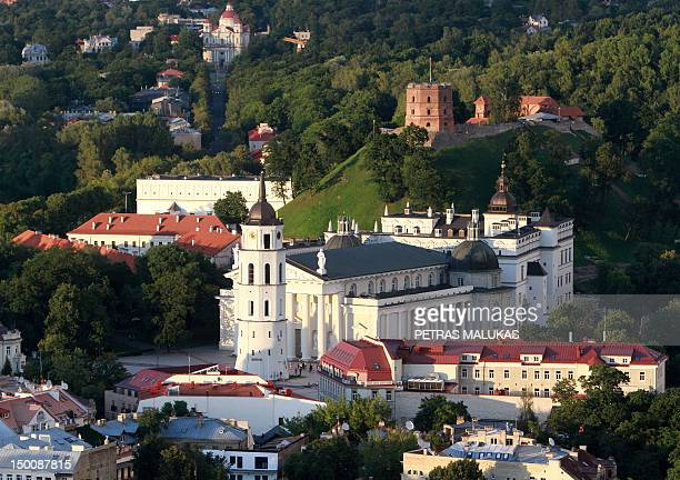 A photo taken from a hot air balloon on August 10 2012 shows the old town of Vilnius which remains one of the few European capitals allowing hot air...