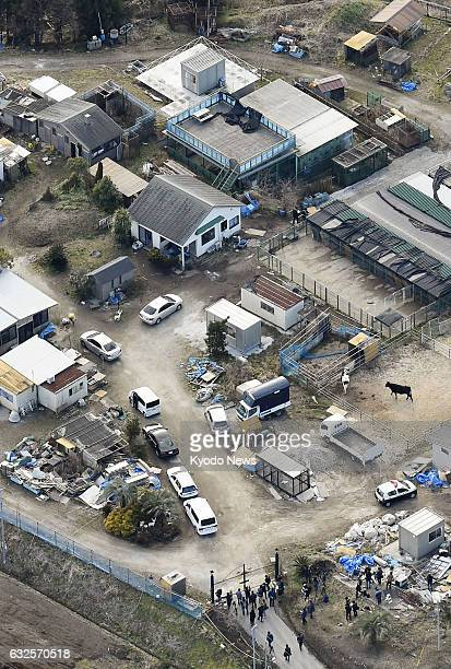 Photo taken from a Kyodo News helicopter on Jan 23 shows Shonan Animal Production a company rearing animals used in filming in Narita Chiba...