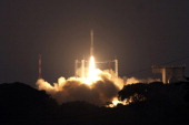 A photo taken from the European Space Agency on February 13 2012 shows the launch of the Vega rocket at the Kourou Space Centre French Guiana A new...