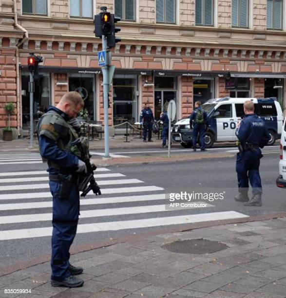 A photo taken from the instagram account of BernatMajo shows police officers patroling in a street in the Finnish city of Turku where several people...