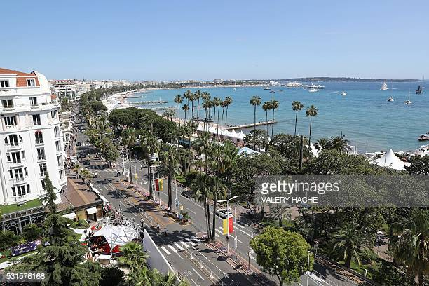 A photo taken from the Majestic hotel on May 15 2016 shows a general view of the Croisette in Cannes southern France during the 69th Cannes Film...