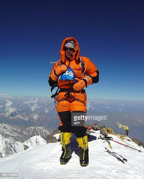 Photo taken in 2004 of Spanish alpinist Edurne Pasaban posing after scaling Nanga Parbat in Pakistan one of the world's highest peaks Pasaban is...
