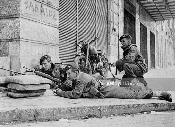 Photo taken in December 1944 in Athens during the World War II of British soldiers with their machine guns British troops entered Athens 14 October...