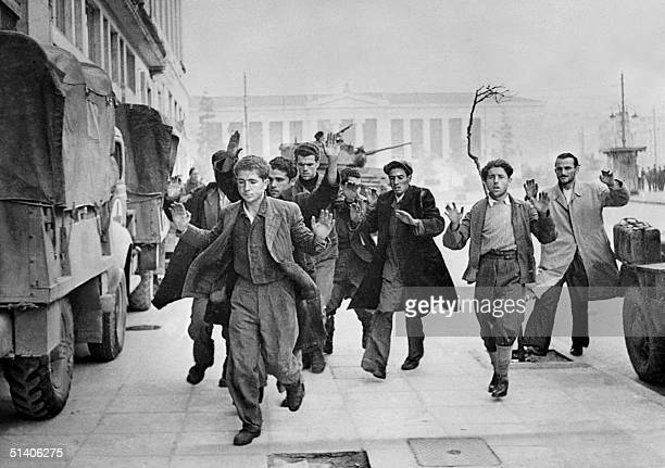 Photo taken in December 1944 in Athens during the World War II of communists partisans being arrested British troops entered Athens 14 October 1944...