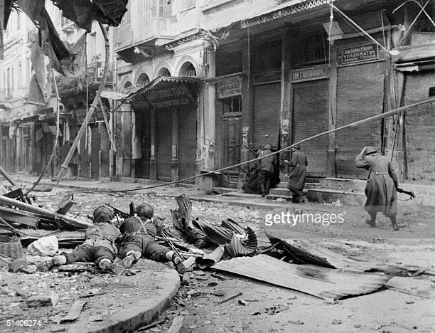 Photo taken in December 1944 in Athens of soldiers during the World War II British troops entered Athens 14 October 1944 two months before the civil...