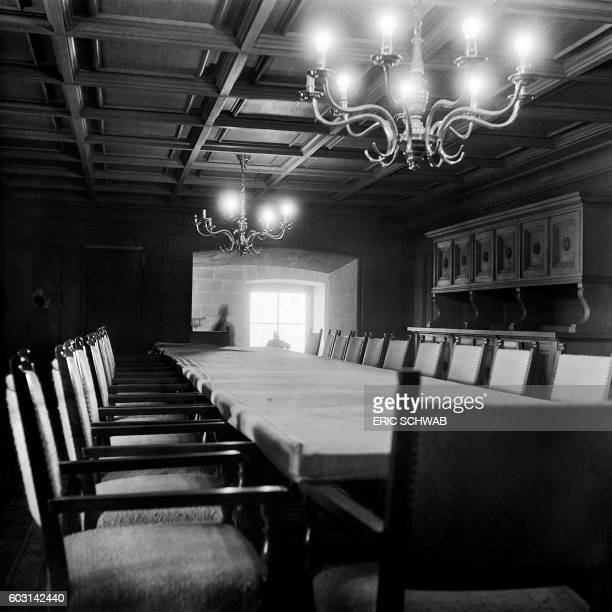 Photo taken in May 1945 shows the dinning room of the Berghof Adolf Hitler's home in the Obersalzberg of the Bavarian Alps near Berchtesgaden Bavaria...