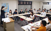 Photo taken in Tokyo's Taito Ward on July 13 shows a Japaneselanguage lesson for foreign students at the Intercultural Institute of Japan