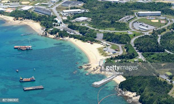 Photo taken July 23 from a Kyodo News airplane shows the Henoko coastal area of Nago in Japan's southernmost island prefecture of Okinawa The...