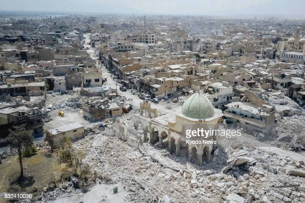 Photo taken July 29 shows the ruined Great Mosque of alNuri after Islamic State destroyed the symbol of the Old City of Mosul On July 10 the Iraqi...
