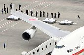 Photo taken July 5 from a Kyodo News helicopter shows a Japanese government plane that arrived at Tokyo's Haneda airport and the coffins of those...