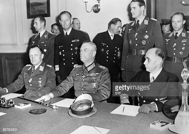 A photo taken late 08 May1945 at the headquarters of the Soviet forces in BerlinKarlshorst shows German General HansJrgen Stumpff of the Luftwaffe...