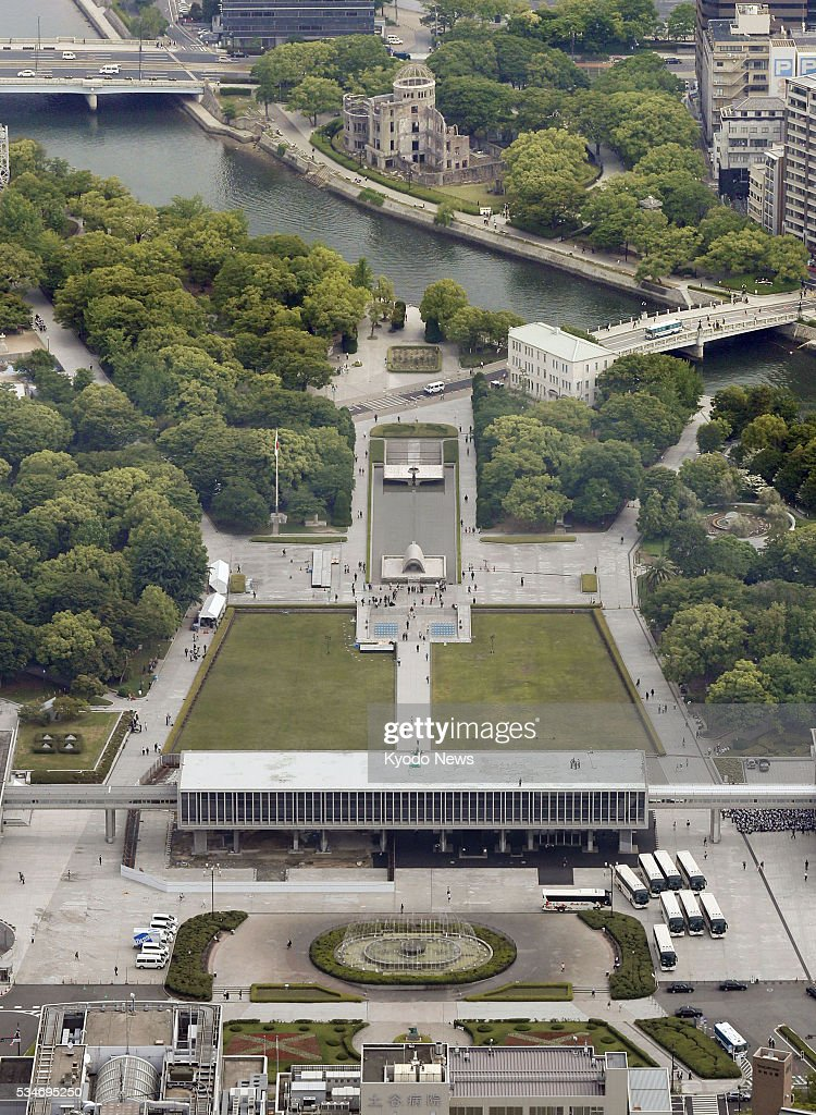 Photo taken May 27, 2016 from a Kyodo News helicopter shows the Peace Memorial Park in Hiroshima. U.S. President Barack Obama is scheduled to visit Hiroshima later in the day, making him the first American head of state to do so since the United States dropped an atomic bomb on the city in August 1945.